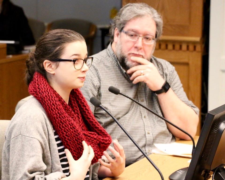 Kylie Charney-Harrington, editor of Timberline's Blazer, testifies as Mountlake Terrace's Hawkeye adviser, Vince DeMiero, looks on. (Photo by Dan Hiestand)