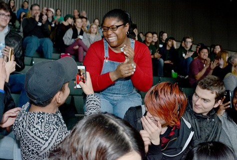 Cleveland students capture the moment at their adviser, Teresa Scribner, is named Adviser of the Year.